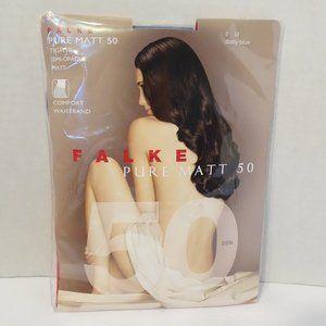 FALKE Pure Matt 50 Tights Size M Dusty Blue NEW